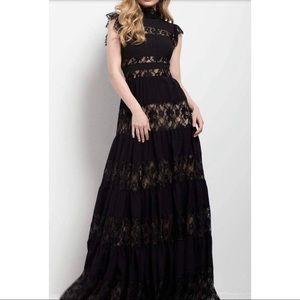 High Neck Tiered Evening Dress